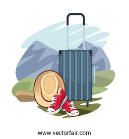 travel suitcase and hat and shoes over landscape and white background