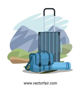 travel suitcases over landscape and sleeping bag over landscape and white background