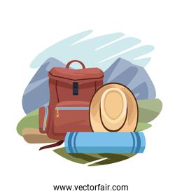 backpack with sleeping bag and hat over landscape and white background, colorful design