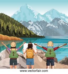 Beautiful lake and mountains landscape with travelers friends