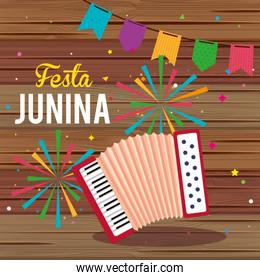 festa junina poster with accordion and garland hanging