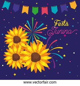 festa junina poster with sunflowers and garland hanging