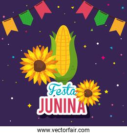 festa junina poster with cob and decoration