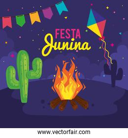 festa junina poster with bonfire and icons traditional