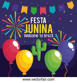 festa junina poster with cactus and decoration