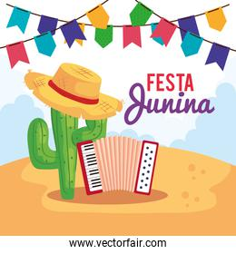 festa junina poster with accordion and icons traditional