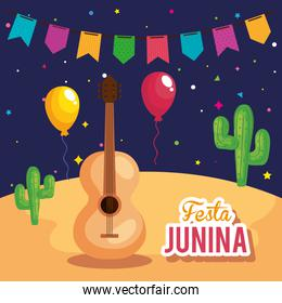 festa junina poster with guitar and icons traditional