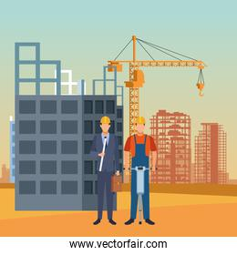 enginner and builder working over under construction scenery background