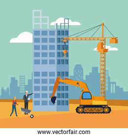 excavator with enginner and builders working on under construction scenery background