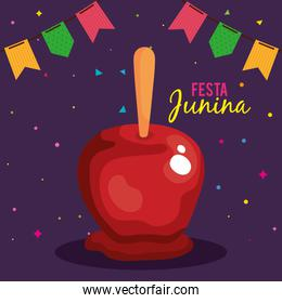 festa junina poster with apple candy and decoration
