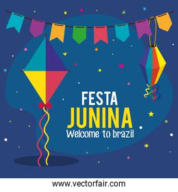 festa junina poster with kite and decoration