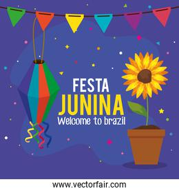 festa junina poster with sunflower and decoration