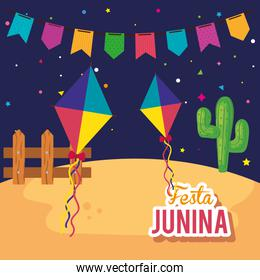 festa junina poster with kites and decoration