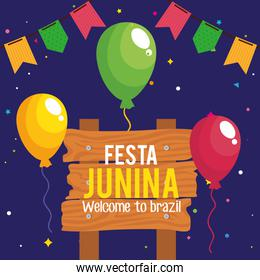 festa junina poster with balloons helium and decoration