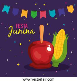 festa junina poster with apple candy and cob