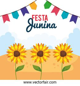 festa junina poster with sunflowers and decoration