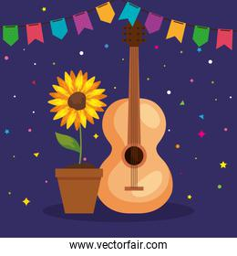 festa junina poster with guitar and sunflower