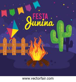 festa junina poster with cactus and icons traditional
