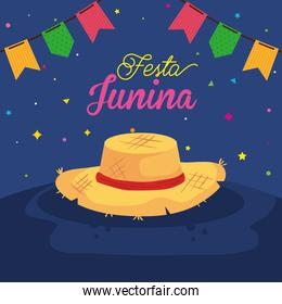 festa junina poster with hat wicker and decoration
