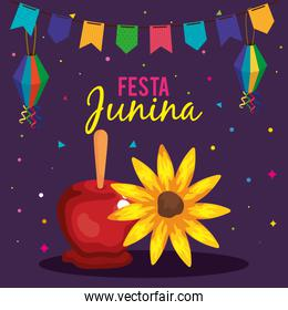 festa junina poster with candy apple and sunflower