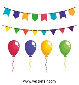 set garlands hanging with balloons helium