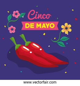 cinco de mayo banner with chili pepper and decoration