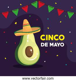 cinco de mayo poster with avocado and decoration