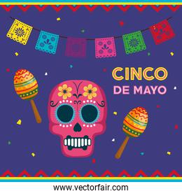 cinco de mayo poster with skull and maracas