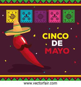 cinco de mayo poster with chili pepper and decoration