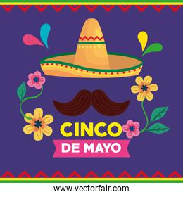 cinco de mayo poster with hat wicker and moustache