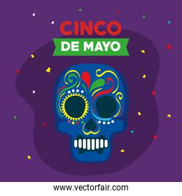 cinco de mayo poster with skull decorated