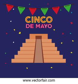 cinco de mayo poster with pyramid and garlands hanging