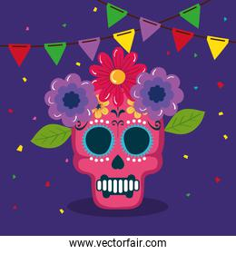 cinco de mayo poster with skull and flowers decoration