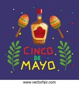 cinco de mayo poster with bottle tequila and decoration