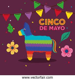 cinco de mayo poster with pinata and decoration