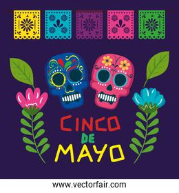cinco de mayo poster with skulls and flowers decoration