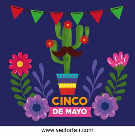 cinco de mayo poster with cactus and flowers decoration