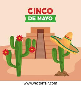 cinco de mayo poster with pyramid and cactus