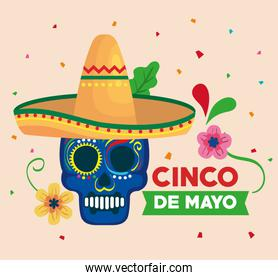 cinco de mayo poster with skull and hat