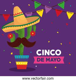 cinco de mayo poster with cactus and icons traditional
