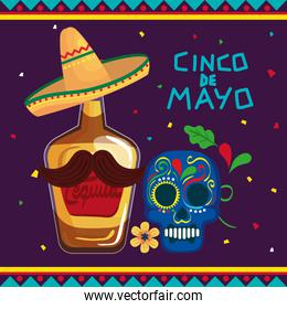 cinco de mayo poster with bottle tequila and skull decorated