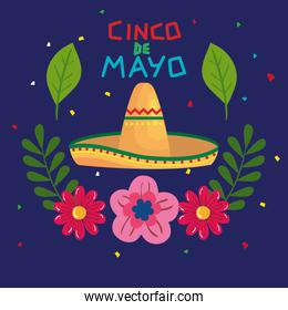 cinco de mayo poster with hat wicker and decoration
