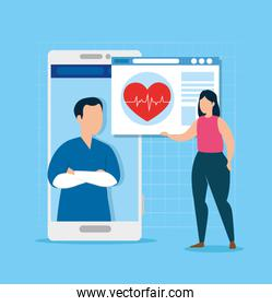 medicine online technology with woman and web page