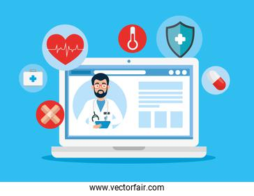 medicine online technology with laptop and icons