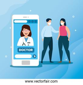 doctor online technology with people sick