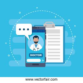 doctor online technology with smartphone and icons