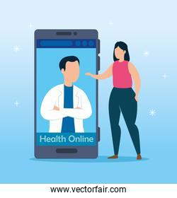health online technology with smartphone and woman
