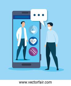 medicine online technology with smartphone and man sick