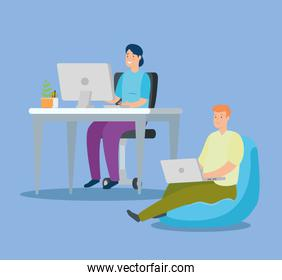 couple working at home avatar characters