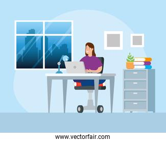 scene woman working at home avatar character